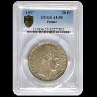 20 Francs Turin 1937 AU 58
