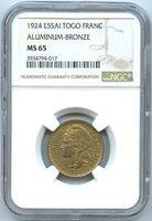 Togo 1 Franc ESSAI 1924 KM E2 NGC MS 65