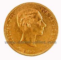 25 pesetas, Alfonso XII 1877 (*18-77), 1877, Espagne