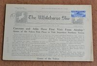 """YUKON AIRWAYS & EXPLORATION CO., LTD, 1927, 25c DARK BLUE USED ON NEWSPAPER, #CL42, just tied by Whitehorse, Yukon d.s., matching straight-line """"POSTAGE PAID"""" h.s., on April 13, 1928 issue of """"The Whitehorse Star"""" with printed address to Atlin, B.C., April 15, 1928 arrival d.s., newspaper bit aged and folded, still a very fine and scarce usage (Photo) (Scan1) (Scan2) (All Scans)"""