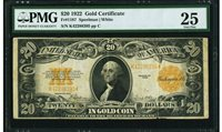 $20 1922 Fr# 1187 * GOLD CERTIFICATE * PMG Very Fine 25 VF25