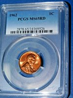 1962 1C RD Lincoln Memorial Cent-PCGS MS65RD--369-1