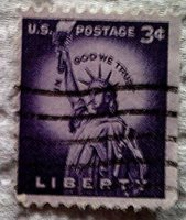 1954 Scott 1035 U. S. Statue of Liberty one used 3 cent stamp off paper