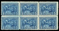 United States1910-301920 5c deep blue, block of six, lightly hinged