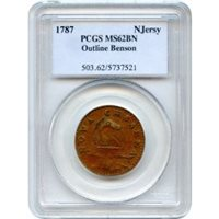 1787 New Jersey Copper Colonial, Outlined Shield PCGS MS62BN