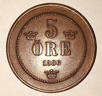 1886 ~ SWEDEN ~ 5 ORE ~ VF25 Condition ~ CLEARANCE PRICED!!!