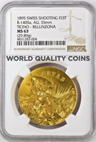 Swiss 1895 Gold Shooting Medal Ticino Bellinzona NGC MS63 R-1405a Very Rare