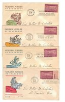 FDC's # 858-32 50th Anniversary of 4 States 1939 -- Linprint set