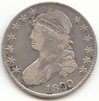 1829 Capped Bust 1829/7 Half Dollar Choice Very Fine Details