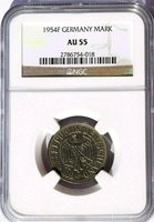 1954 F Germany 1 Mark, NGC AU 55, KM-110