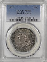1832 CAPPED BUST HALF DOLLAR – SMALL LETTERS PCGS XF-45 PREMIUM QUALITY!