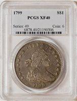 1799 Draped Bust Dollar, 7 x 6 Stars -- PCGS XF40
