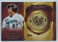 Commemorates Trouts 1st Career HR on July 24 2011 2015 Topps First Home Run Gold Medallions Mike Trout Baseball Card