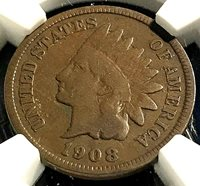 1908-S Key Indian Cent NGC VG8 Estate Beauty, Scratch-free Holder CHN