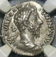 180 NGC AU Marcus Aurelius Denarius Fortuna Roman Empire Death Issue (20090702C)
