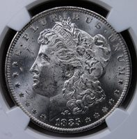 1885 O MORGAN DOLLAR NGC MS 63 CHOICE BU FROSTY WHITE OR NEAR WHITE *ONE COIN*