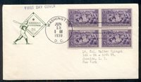 US #855 3¢ Baseball FDC Block of 4 with FARNUM cachet, VF