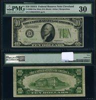FR. 2006 D $10 1934-A Federal Reserve Note Mule Cleveland D-A Block PMG VF30