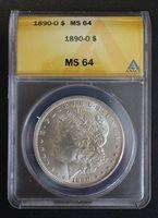 1890 O Moran Silver Dollar ANACS MS 64