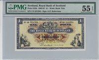 1 Pound Scotland P 325b 1966 Pmg 55 Epq