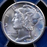 1942 D MERCURY DIME PCGS MS 66+ FULL BANDS LUSTROUS WHITE AND FULLY STRUCK GEM