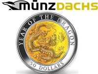 $50 Lunar 5 oz Year of the Dragon Silver Fiji 2012 Mother of Pearl only 888