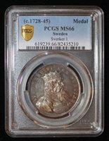 PCGS MS66 1728 Sweden Sverker I Silver Medal beautiful toning!Only one graded
