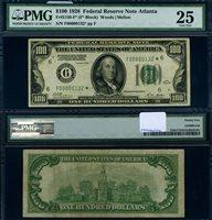 FR. 2150 F* $100 1928 Federal Reserve Note Atlanta F00000132* PMG VF25 Star