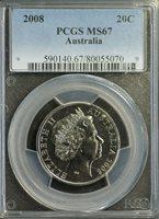 Australia 2008 20 Cent PCGS MS 67