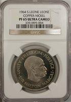 Sierra Leone 1 Leone 1964 PF 65 Ultra Cameo UNC Copper Nickel