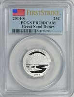 2014-S GREAT SAND DUNES CLAD QUARTER 25c *FIRST STRIKE* PCGS PR70DCAM