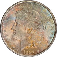 $1.00 1881 Morgan Silver Dollar $1 - PCGS MS65 CAC Toned