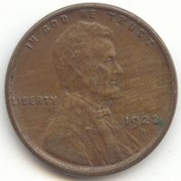 1922-D Lincoln Wheat Cent, Scarce Date, XF