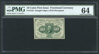 "1862-63 10 CENTS FRACTIONAL CURRENCY FR-1242 CERTIFIED PMG ""CHOICE NEW-64"""