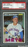 1967 Topps #593 WES WESTRUM SP PSA 9 MINT Mets