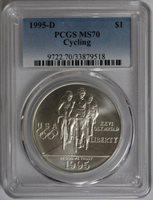 1995-D $1 Cycling Commemorative MS70 PCGS