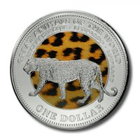 Fiji Great Animals of the World Leopard $1 2009 BU Color Crown