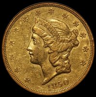 1850 U.S. Liberty Head $20 Double Eagle Gold Coin - NGC XF 45