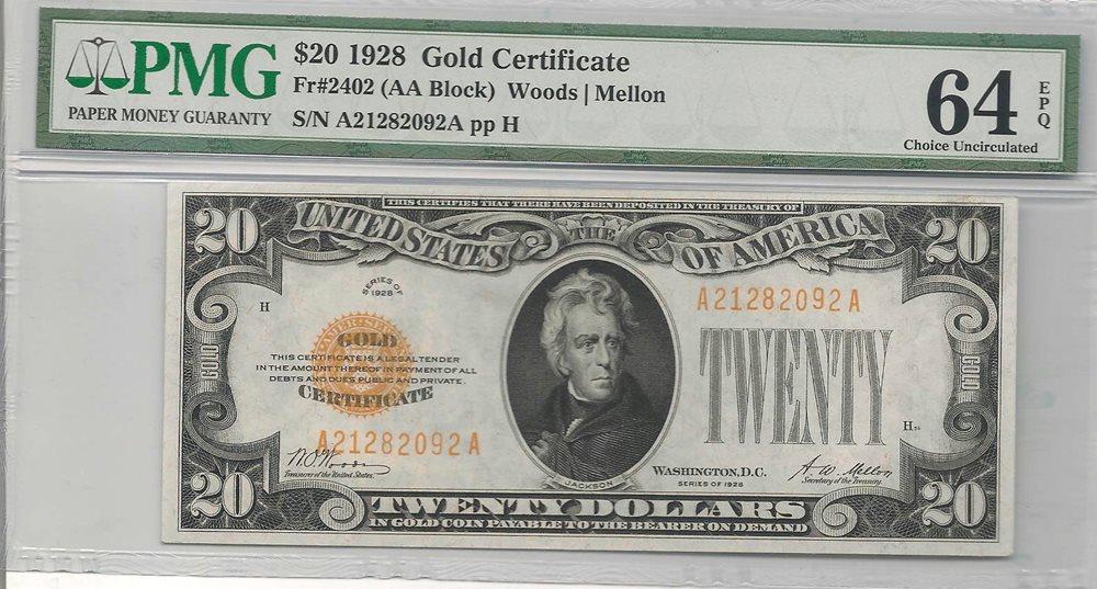 1928 $20 Gold Certificate Woods-Mellon : PMG 64 EPQ