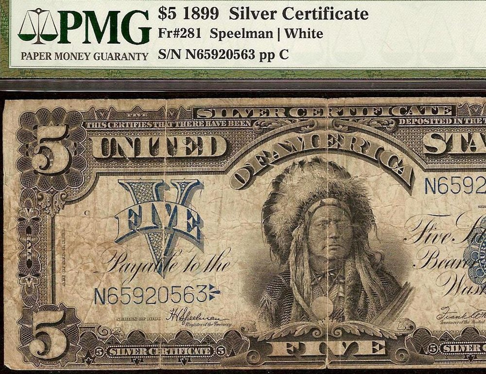 LARGE 1899 $5 DOLLAR BILL BIG SILVER CERTIFICATE CHIEF