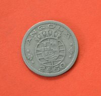 ANGOLA (PORTUGAL) 2 1/2 Escudos 1953 Copper-Nickel [#M289]