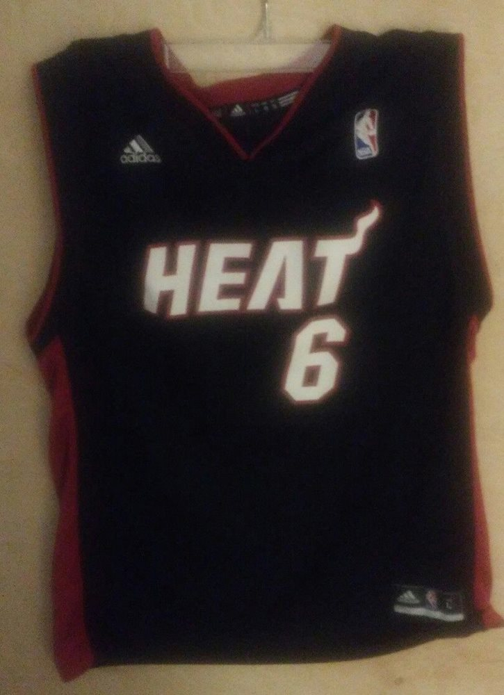 first rate 0f633 5f842 LeBron James Miami Heat #6 Black Adidas Youth L Jersey