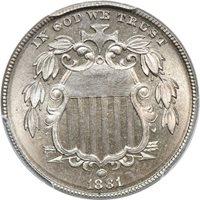 1881 Shield Nickel PR / Proof 67, PCGS 5C C00039082