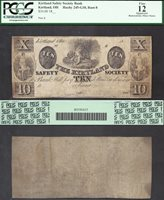 $10 18--KIRTLAND SAFETY SOCIETY BANK==KIRTLAND OH=MORMON=SMITH=LDS=PCGS FINE 12