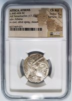GREEK OWL Attica Athens BC NGC Ch AU Ancient Tetradrachm Athena Olive Spray Moon