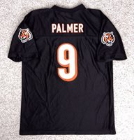vtg CINCINNATI BENGALS CARSON PALMER JERSEY#9 Black Shiny YOUTH XL Can Fit Adult