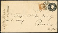 """1c Buff (112). Perfs in, tied by circle of wedges and """"Portland Me. Jun. 10"""" circular datestamp on 2c Black on Manila entire to Rochester N.Y., """"Carrier"""" circular datestamp on back, minor edgewear and tears, Very Fine and scarce combination, ex Kuphal"""
