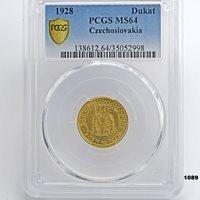 1928 Czechoslovakia Dukat Ducat Gold Coin PCGS MS64 KM8 KM 8 Highest in Pop?