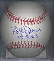 Bob Bobby Dernier 1980 Philadelphia Phillies OML Autographed Signed Baseball COA