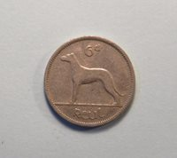1942 Ireland 6 Pence Nickel World Coin Wolfhound Dog Irish Harp Eire